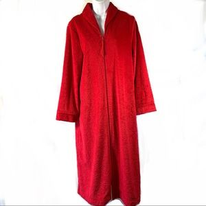 Karen Neuburger Cozy Plush Zip Up Long Red Robe Sz M Embossed Design